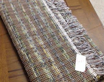 "Loom Woven Rag Rug   27"" x 87"" upcycle reuse cotton flannel handcrafted OOAK floor rug"