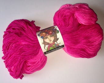 Hand Dyed, Shocking Hot Pink Very Bright Pink Sock Yarn, Knitting, Crochet, Indie Dyer, Superwash Fingering Weight 462 Yards