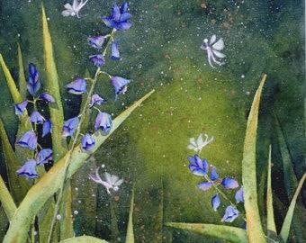 Faerie Garden Original 8x10 fairy boho whimsical watercolor painting by M. Pruitt EBSQ SFA