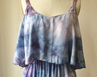 Hand Dyed Playa Dress in Reef,  Empire Waist with Ruffle, Rayon Gauze, Anna Joyce, Portland, OR,