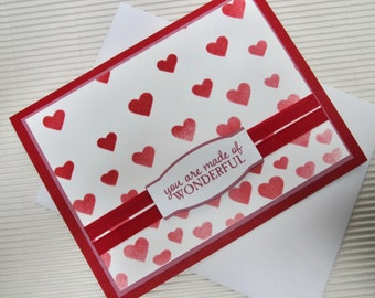 You are made of wonderful card handmade stamped ribbon love anniversary Valentine friendship red hearts stationery greeting paper feminine