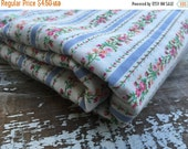BLACK FRIDAY SALE- Floral Striped Fabric-Cotton Pillow Ticking Look