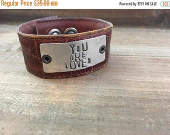 40% OFF- Stamped Leather Cuff-You are Loved-Word Cuff-Loved Collection-