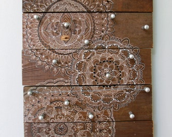 Reclaimed Wood Jewelry Holder Organizer Board Boho Art by Carol Iyer