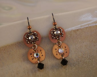Timely - Vintage Copper Watch Dials Steel Cut Flowers Swarovski Crystals Niobium Wires Recycled Repurposed Steampunk Earrings