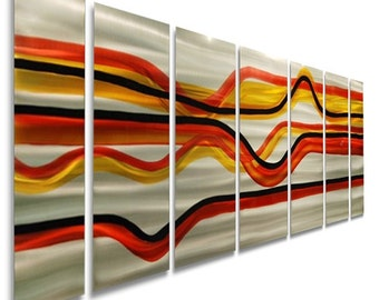 Orange, Red, Silver, & Yellow Abstract Metal Wall Art - Modern Metal Painting - Home Decor - Wall Accent - A Day at the Races by Jon Allen