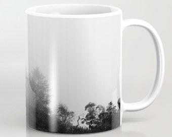 Mug | Coffee Mug | Photo Mug | Olympic National Park Mug | 11oz 15 oz. | Made to Order | Ocean Mug | Misty Beach Trees | Black White Photo |