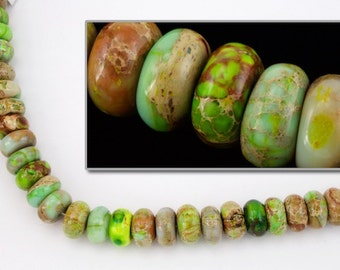 10mm x 7mm Aqua Terra Jasper Yellow/Green Rondelle (35 Pcs)