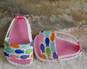 "Doll Sandals Shoes for 18"" doll and 13-14"" doll and 14.5"" doll (You Choose Size) Colorful Fish Medley Featuring Moda Rainy Day Fabric"