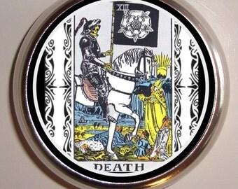 Death Tarot Card Pillbox Pill Box Case Holder for Vitamins Pills Occult Ocuultist
