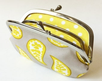 Coin purse wallet - yellow paisley on gray, yellow and grey, kiss lock coin purse, change purse, lemon yellow, polka dot