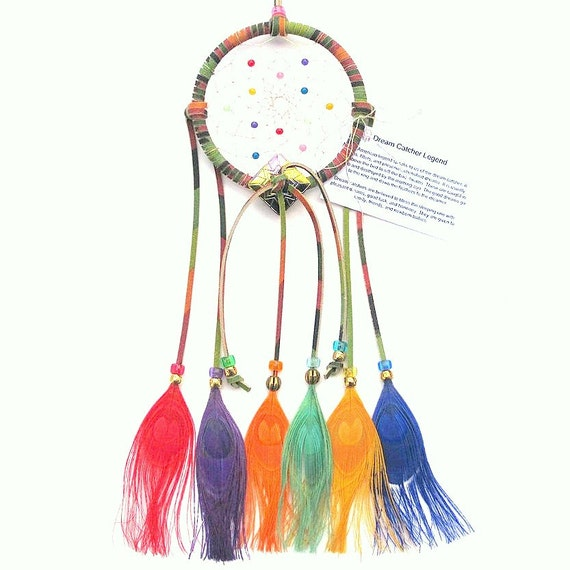 Tie dye brights dream catcher peacock eyes by arizonadreams for How to tie a dreamcatcher web