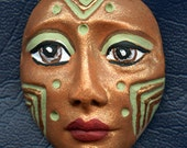 Reserved for Iulia Only   Polymer Clay One of a Kind  Spirit Doll Copper Green Detailed Face Cab Un Drilled SD 1