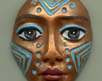Polymer Clay One of a Kind  Spirit Doll  Copper Detailed Face Cab Un Drilled ASD 6