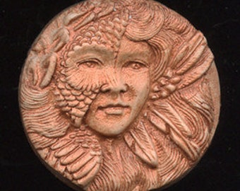 Polymer  Clay Copper  Highlighted Art Nouveau Goddess Cab  NANCP 1