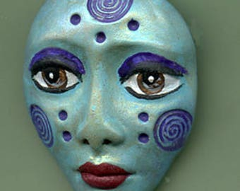 Polymer Clay One of a Kind  Spirit Doll  Detailed Face Cab Un Drilled SPF 2