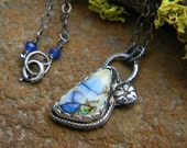 Petite Monarch Opal Pendant Necklace - sterling silver - oxidized and rustic