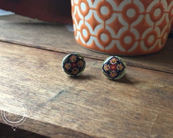 Mexican jewelry, Mexican tile design, Post Earrings, Handmade studs, earrings, travel, world, global fashion