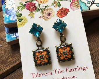 California Tile earrings with vintage crystals, Drop earrings, Pottery design jewelry, Boho jewelry, Gypsy jewelry, Chandelier Earrings