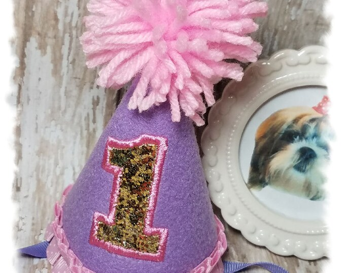 Dog Birthday Hat- Dog Party Hat-Dogs First Birthday-Dog Birthday Party-Lilac Birthday Hat-Gotcha Day