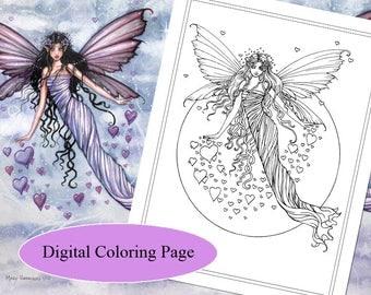 Passionate Sky - Digital Stamp - Printable - Fairy Art - Molly Harrison Fantasy Art - Digistamp Coloring Page - Digi Stamp