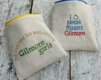 Gilmore girls pouches. I speak fluent Gilmore. I'd rather be watching Gilmore girls. Gilmore girls zipper purse. Gift set.