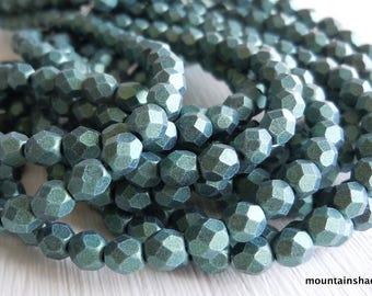 4mm Czech Beads - Metallic Suede Lt. Green Firepolished Faceted 50 pcs (G - 46)