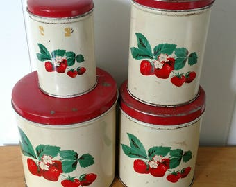 vintage strawberry canister set