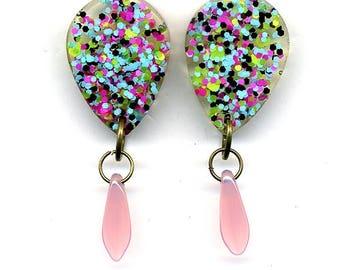 Resin drop Earrings –   Light  –Dagger Glass Beads - Nickel free studs - Statement