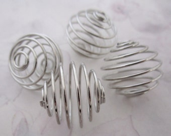 10 pcs. silver tone spring coil cage beads 20mm - f5358