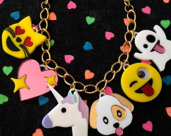 Emoji Love Acrylic Charm Necklace