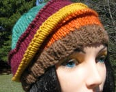 Knit Wool Hat for Men or Women, Alpaca Handmade Beanie, Warm Winter Beanie, Striped Slouch, Brown, Orange, Yellow, Burgundy and Green Hat