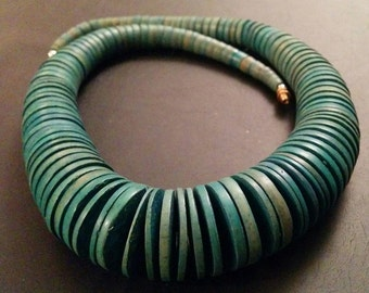 Vintage Wood Stacked Disc Necklace Turquoise Tribal Rustic