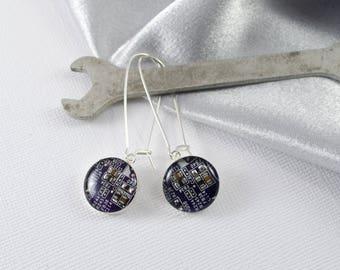 Circuit Board Earrings Purple, Wearable Technology, Engineer Gift, Sterling Silver Dangle Earrings, Nerdy Earrings, Software Engineer