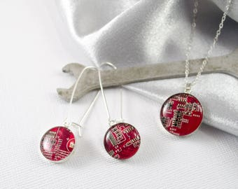 Circuit Board Necklace and Earring Set Red, Sterling Silver Jewelry, Wearable Technology, ENgineer Gift, Reclaimed Jewelry, Geek Chic Gift