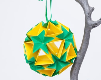 Flower Ball Origami Ornament, Hanging Home Decor, Paper Ornaments, Christmas Tree Decoration, Paper Christmas Tree Ornaments, Yellow + Green