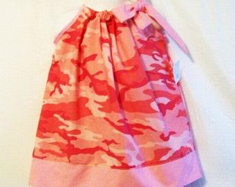 Baby Girls Pink Camo Pillowcase Dress, Baby  Girls Clothing, Baby Girls Dress, handmade Dress,Made in the USA, #158