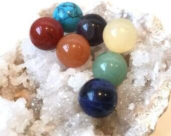 7pcs, 10mm Spheres, Chakra Crystal Set, Chakra Stone Set, Genuine Gemstones, Undrilled, Gemstone Balls, Healing Crystals, 1 each of 7 gems