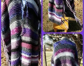 Hand Knit Poncho Wrap Shawl FREE Shipping in USA
