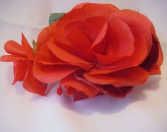 RED Vintage LARGE Millinery Rose, Bud and Leaves 3716
