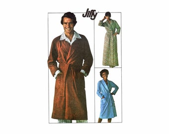 1970s Mens Front Wrap Shawl Collar Robe Simplicity 7741 Vintage Sewing Pattern Chest 42 - 44 Uncut