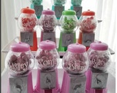 Set of 8 - Personalized Gumball Machine - Birthday Party Favor - 5 COLOR CHOICES