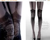 ON SALE/// Tattoo Tights,  Day of the Dead garters print Asphalt thigh highs illusion one size full length closed toe printed tights pantyho