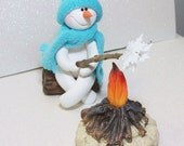 custom order reserved for Melvina: Snowmen campfire and bird with birdhouse