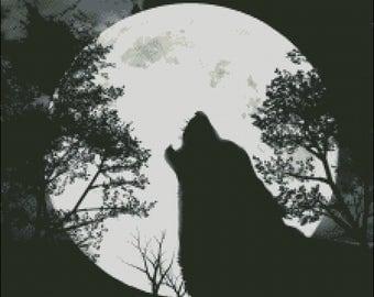 Silhouette Wolf Cross Stitch Pattern PDF