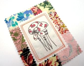Fabric Patch, Quilt Block, Applique - Mushroom Patch