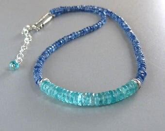 Kyanite Apatite Necklace Sterling Silver DJStrang Blue Green Aqua Caribbean Blue Gemstone Boho Cottage Chic Briolette Stone