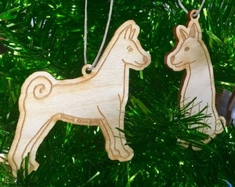 Basenji Wooden Ornament Set