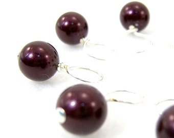 Blackberry Swarovski Crystal Pearl Stitch Marker Drops for Knitting or Crochet (Choose Your Size - Set of 8)
