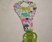 Pacifier Bib, Elephants, pink, multi colors, Pacifier holder, babies, boy, girl, shower gift, boy bib, girl bib, nursery, gift